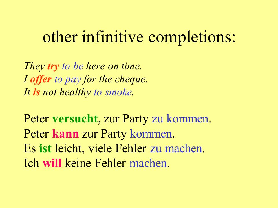 other infinitive completions: