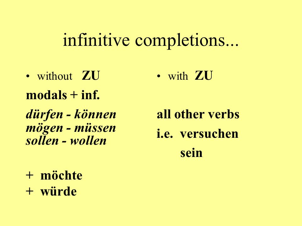 infinitive completions...