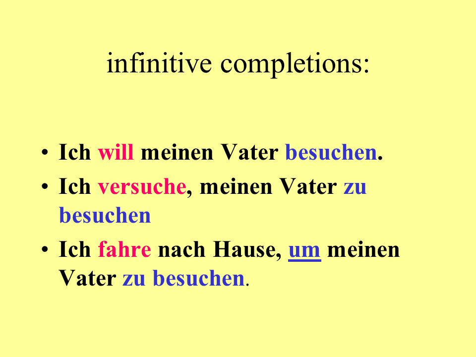 infinitive completions: