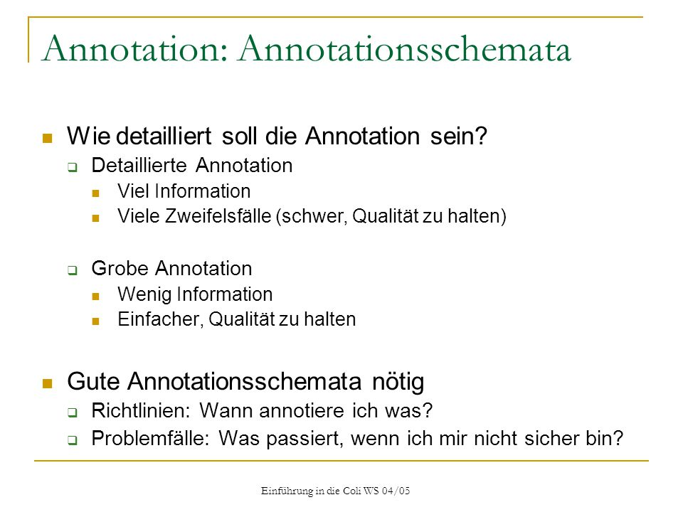 Annotation: Annotationsschemata