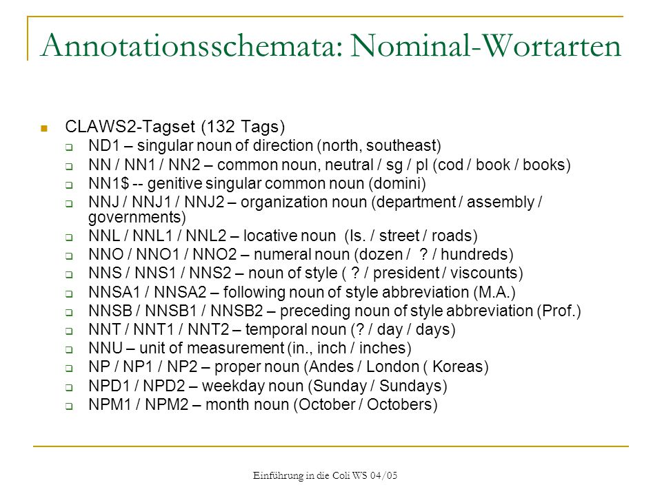 Annotationsschemata: Nominal-Wortarten