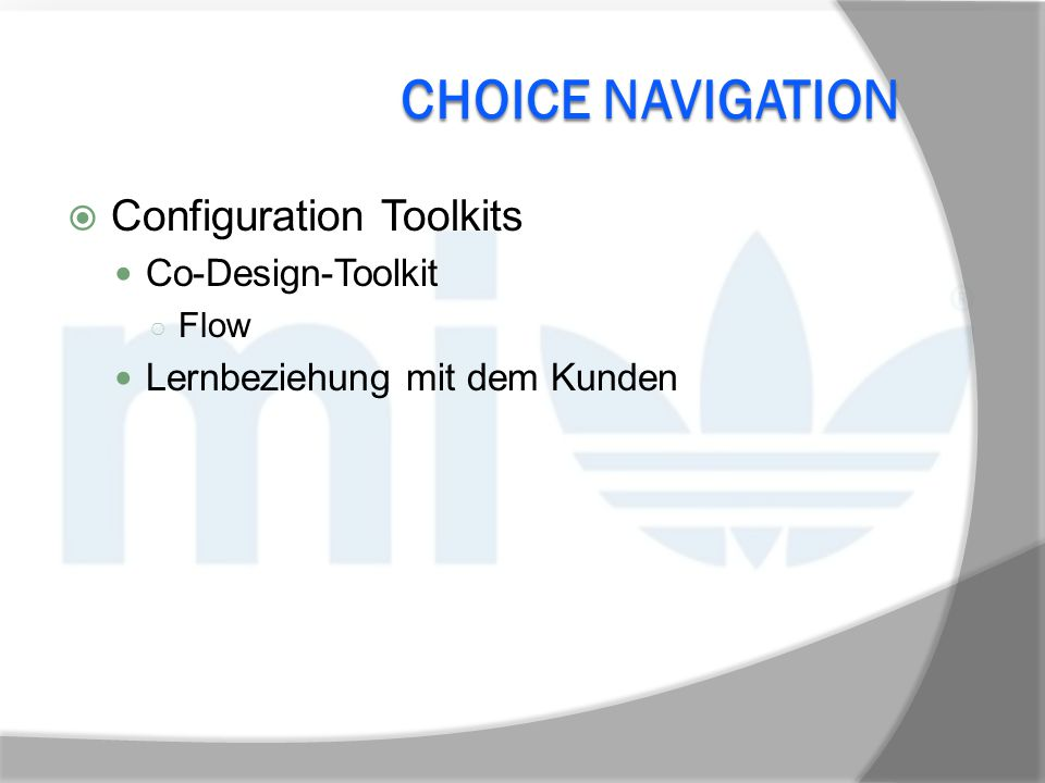 Choice Navigation Configuration Toolkits Co-Design-Toolkit