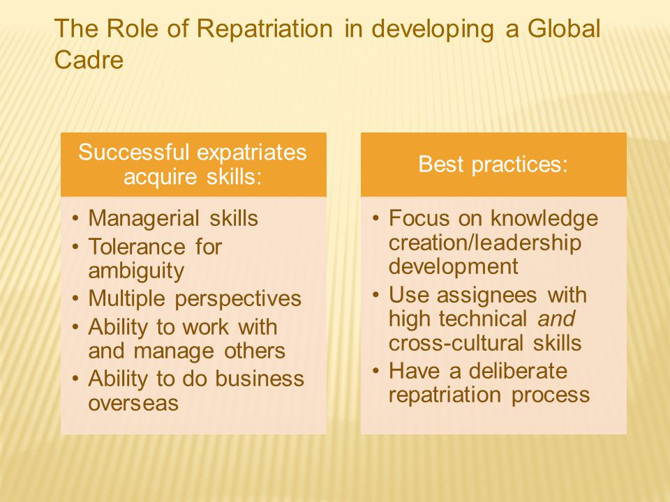Successful expatriates acquire skills: