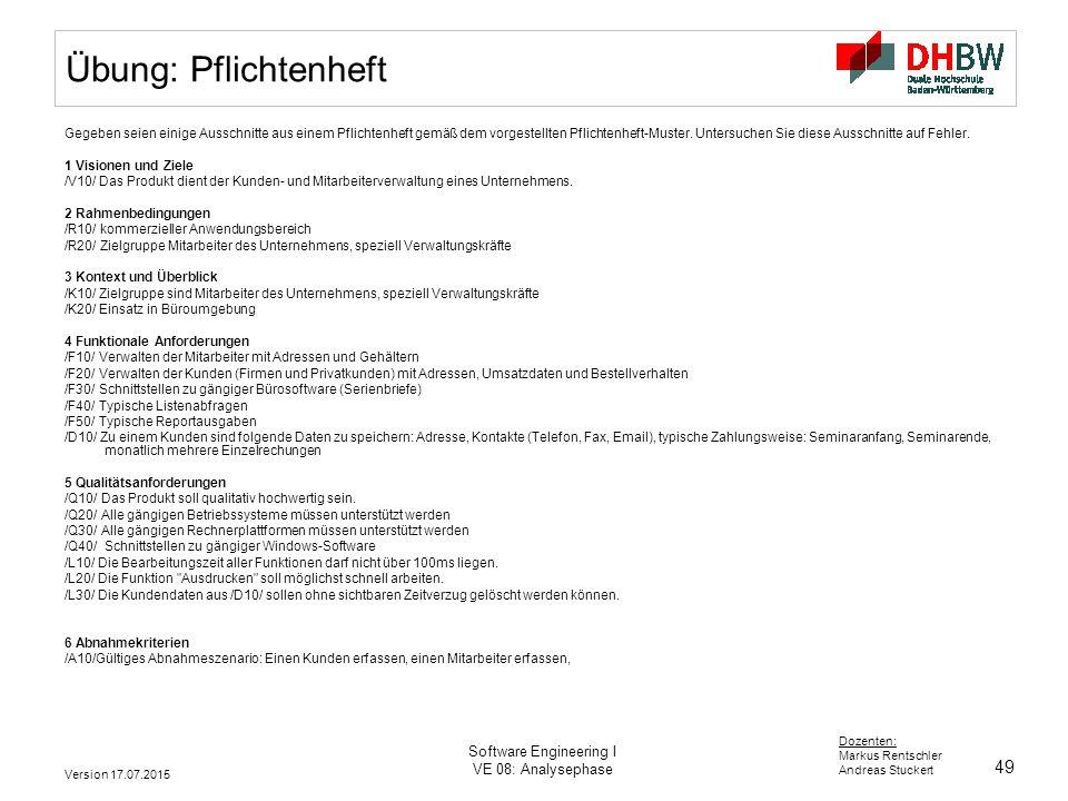49 software engineering i - Pflichtenheft Muster