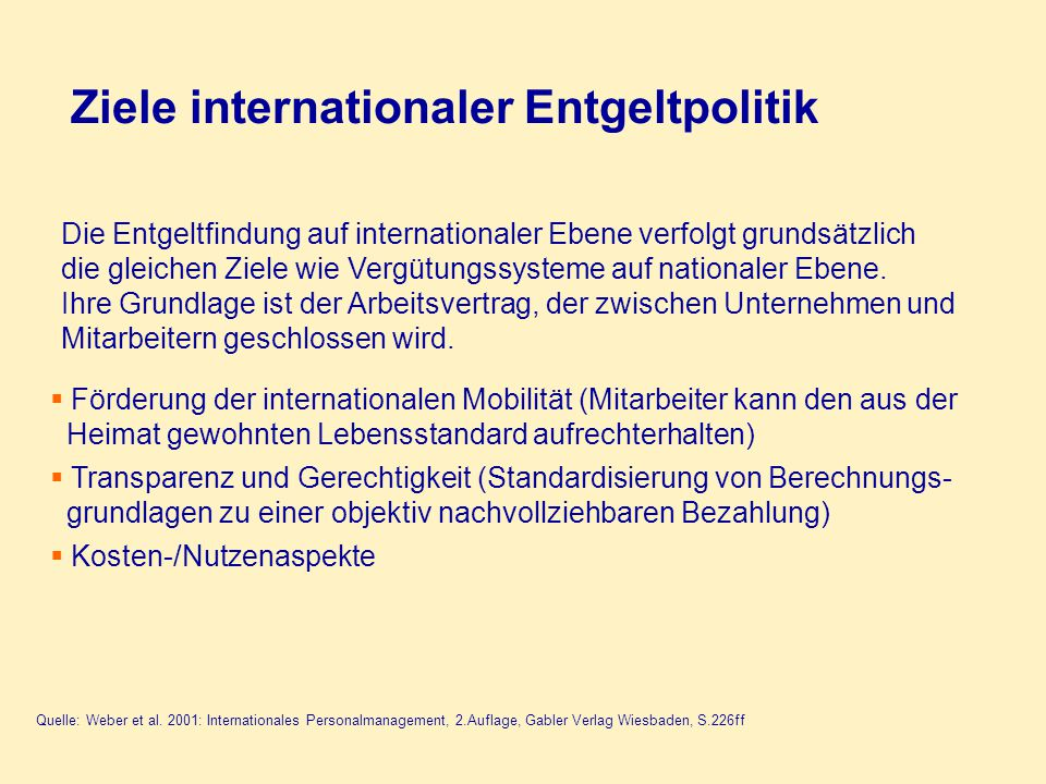 Ziele internationaler Entgeltpolitik
