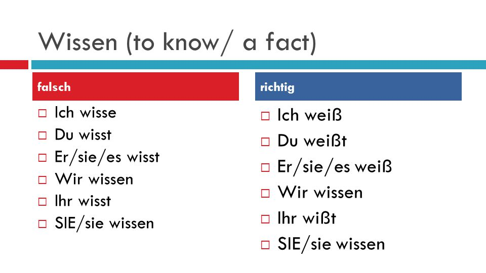 Wissen (to know/ a fact)