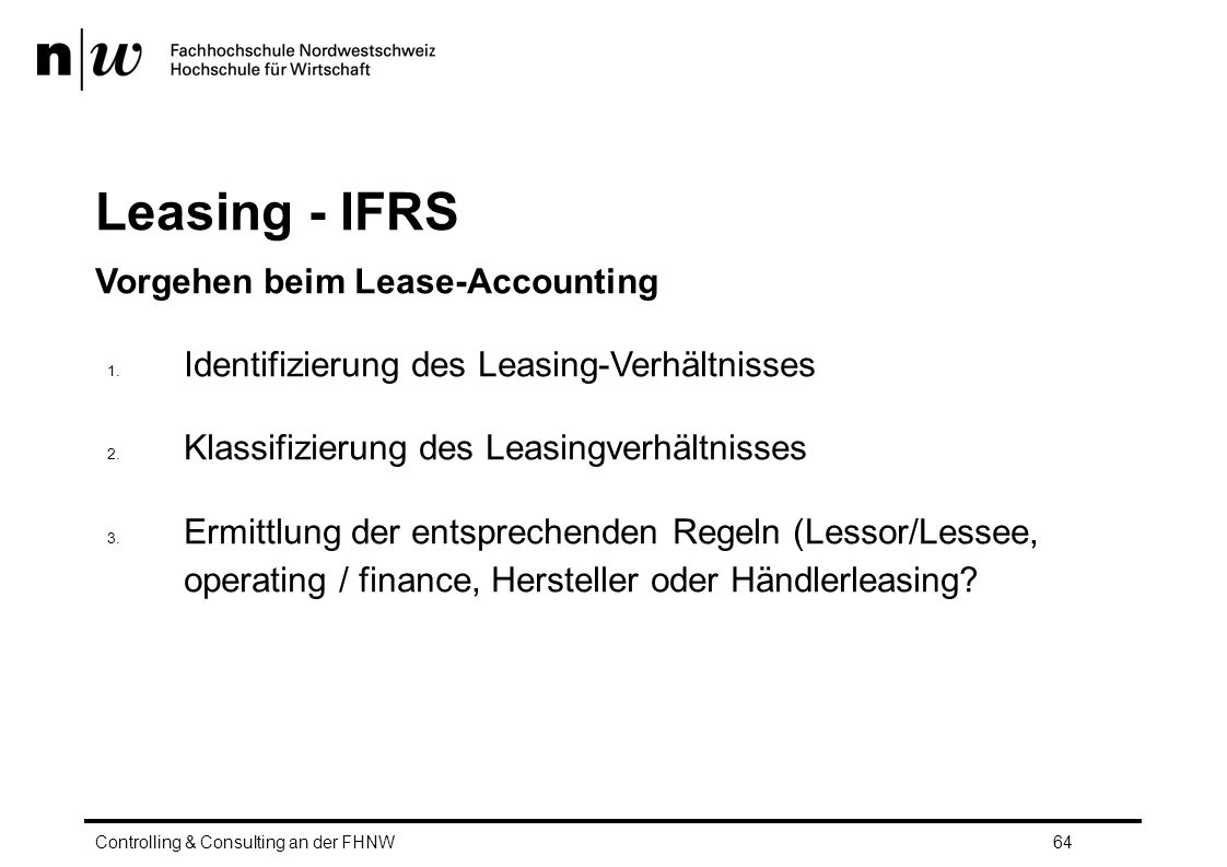 Leasing - IFRS Vorgehen beim Lease-Accounting