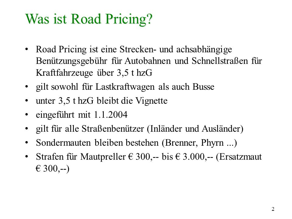 Was ist Road Pricing
