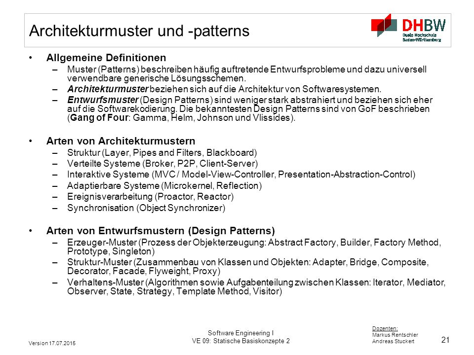 Architekturmuster und -patterns