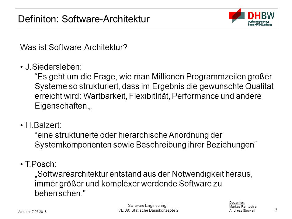 Definiton: Software-Architektur