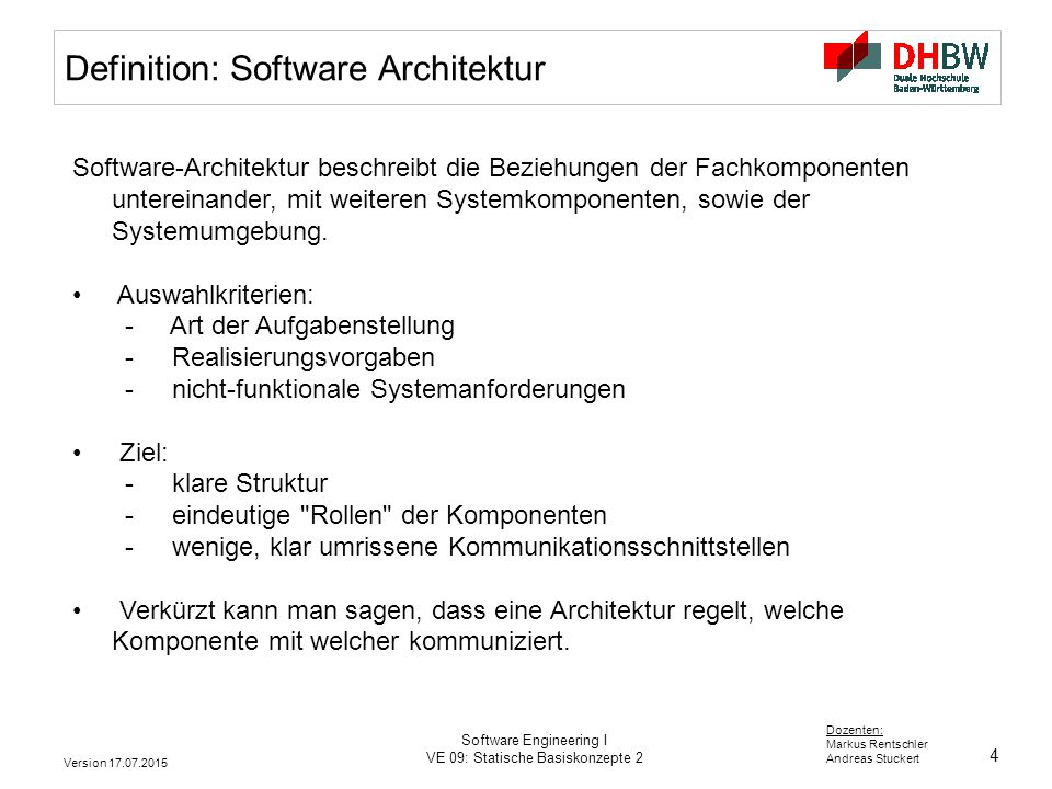 Definition: Software Architektur