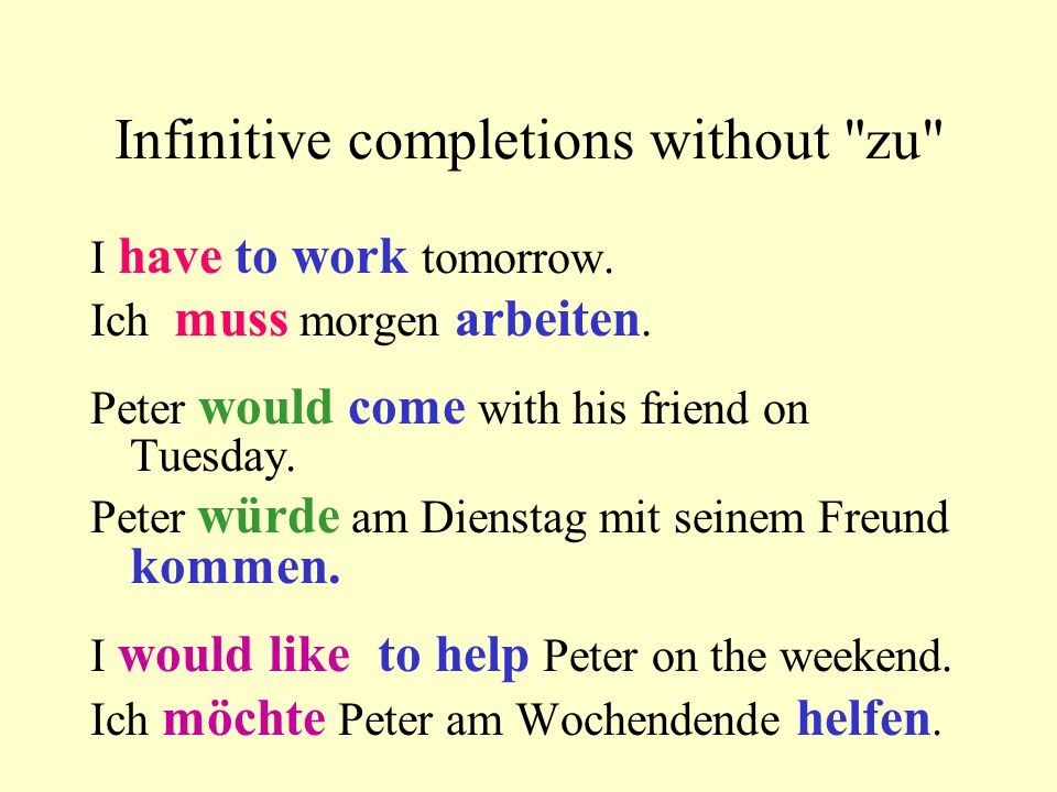 Infinitive completions without zu