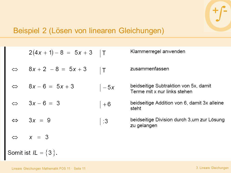 Lineare Gleichungen Allgemeine Einführung Äquivalenzumformungen ...