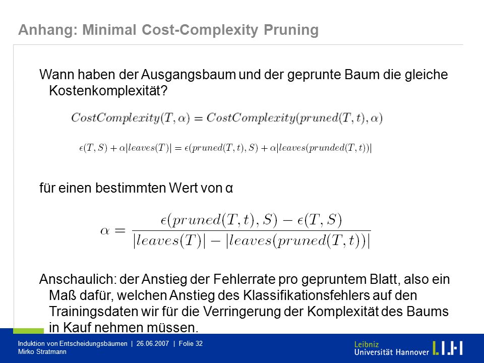 Anhang: Minimal Cost-Complexity Pruning