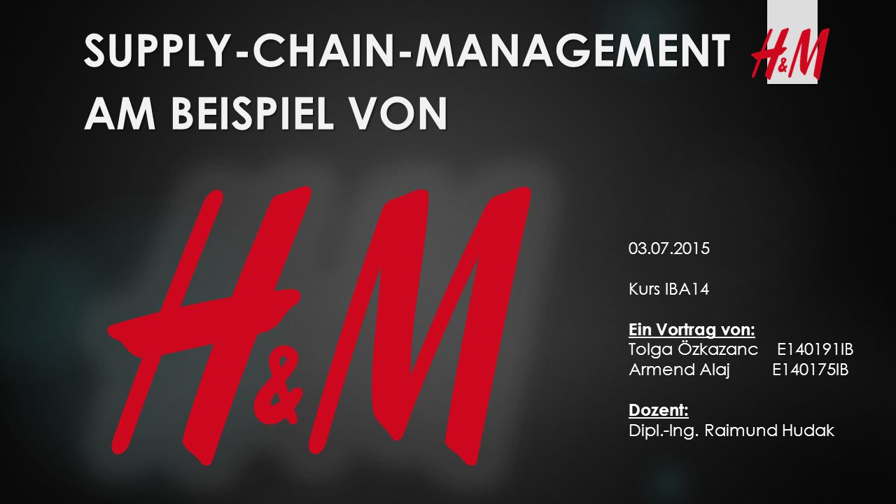 Supply-Chain-Management Am Beispiel von