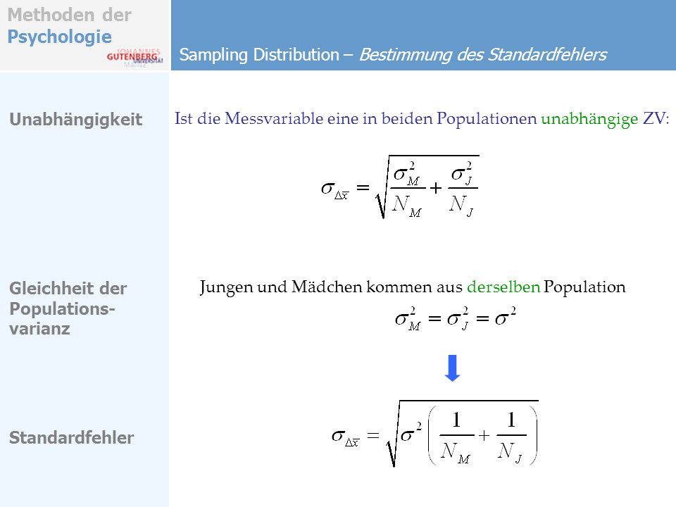 Sampling Distribution – Bestimmung des Standardfehlers