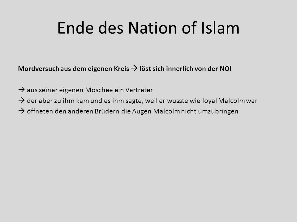 Ende des Nation of Islam