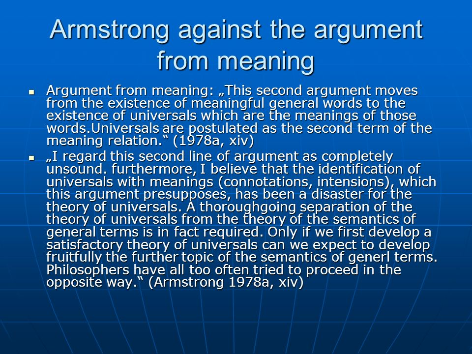 Armstrong against the argument from meaning