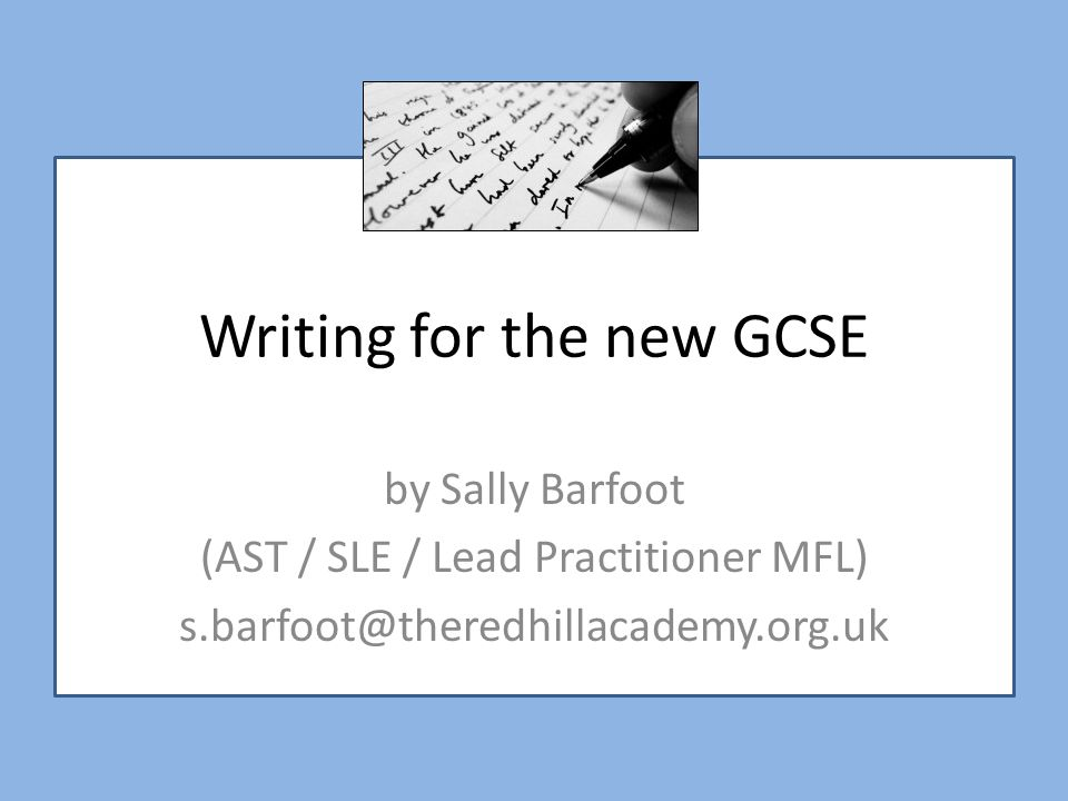 Writing for the new GCSE