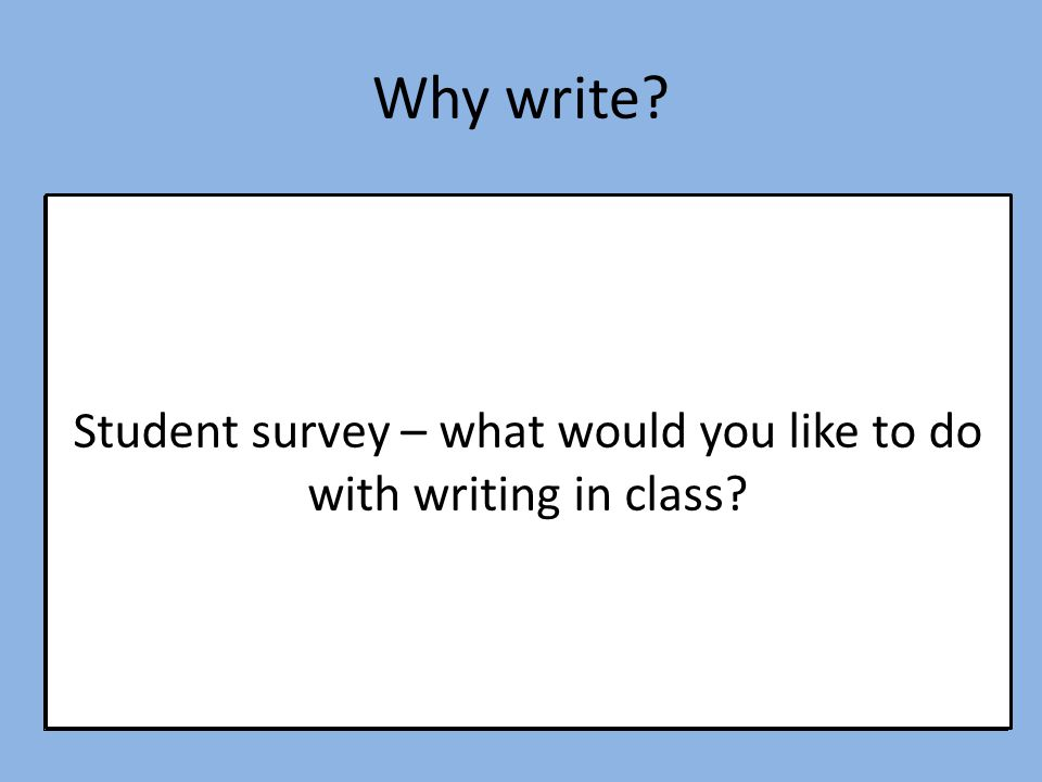 Student survey – what would you like to do with writing in class