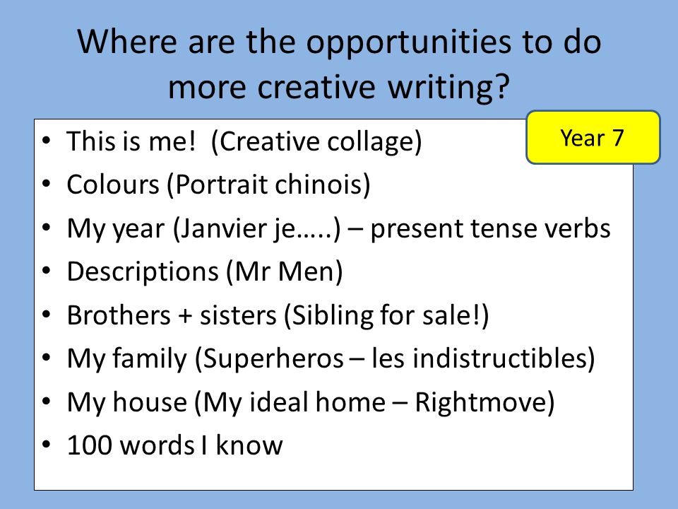 Where are the opportunities to do more creative writing