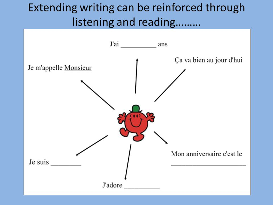 Extending writing can be reinforced through listening and reading………