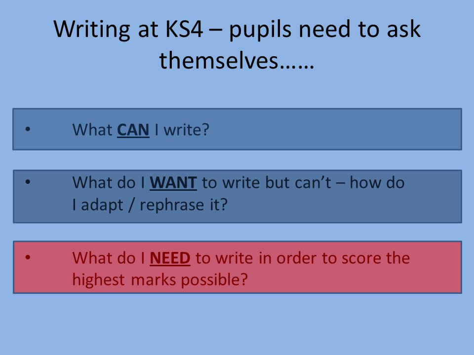 Writing at KS4 – pupils need to ask themselves……