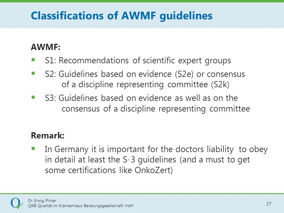 Classifications of AWMF guidelines