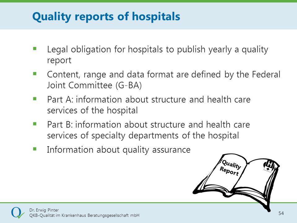 Quality reports of hospitals