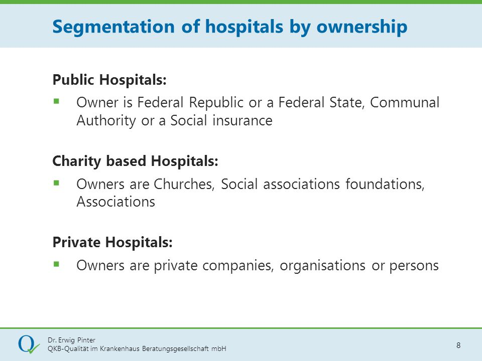 Segmentation of hospitals by ownership