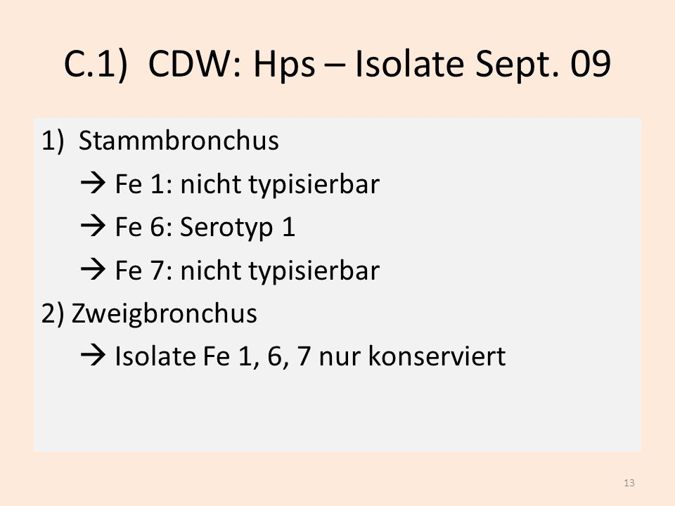 C.1) CDW: Hps – Isolate Sept. 09