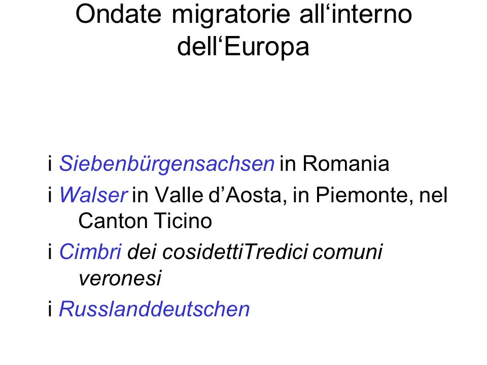 Ondate migratorie all'interno dell'Europa
