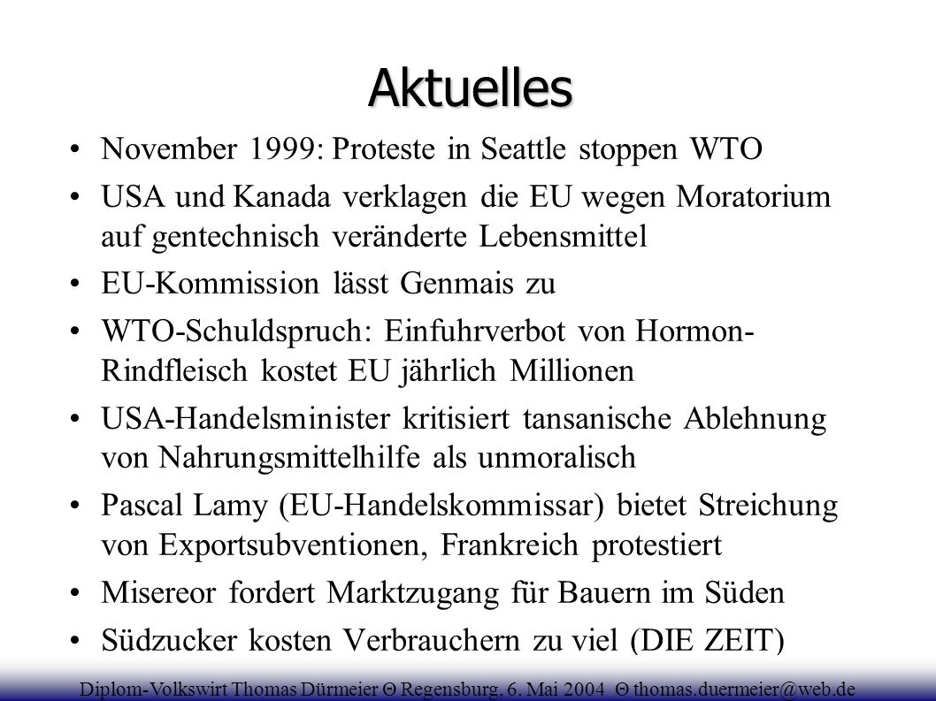 Aktuelles November 1999: Proteste in Seattle stoppen WTO