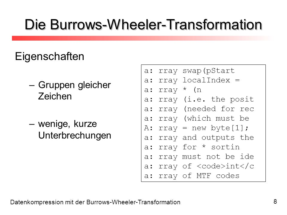 Die Burrows-Wheeler-Transformation