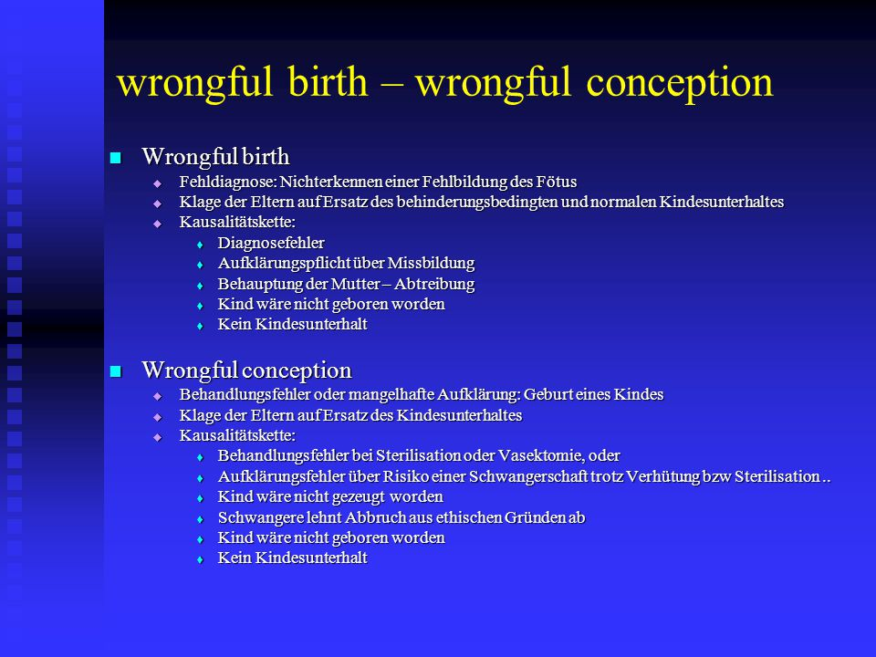 wrongful birth – wrongful conception