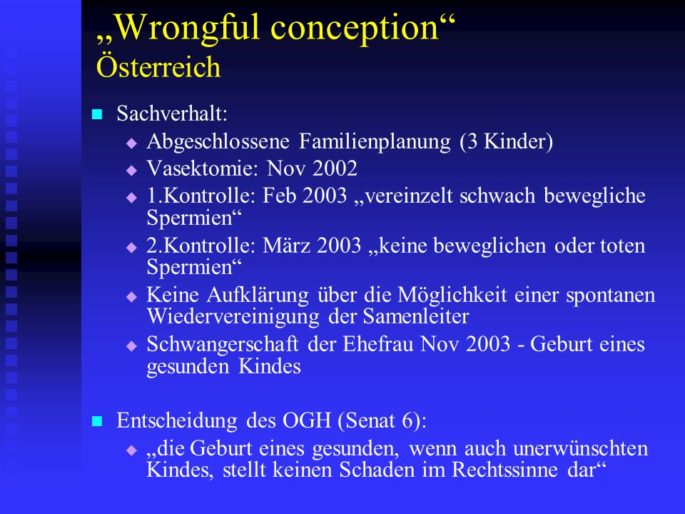 """Wrongful conception Österreich"