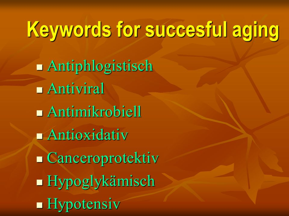 Keywords for succesful aging