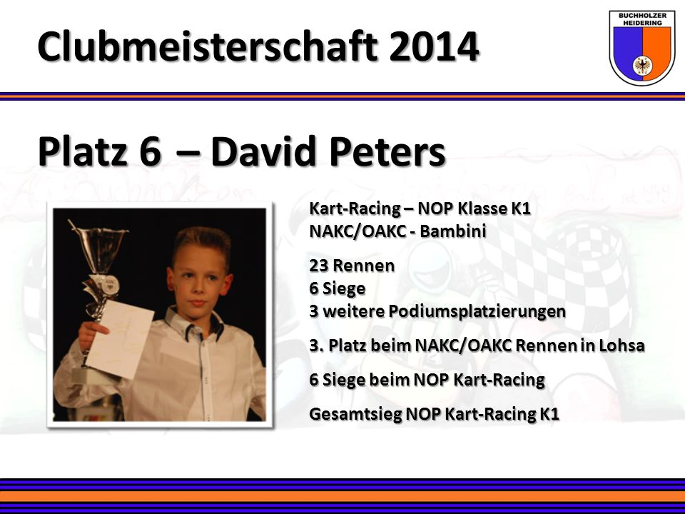 Clubmeisterschaft 2014 Platz 6 – David Peters