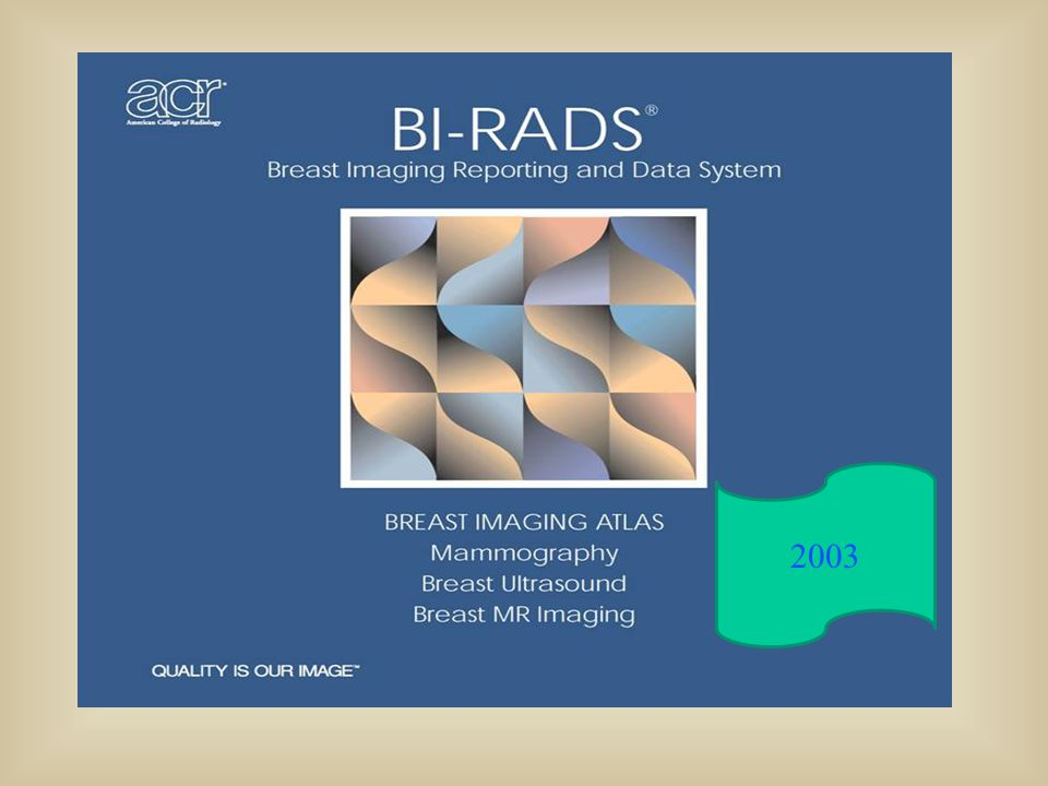 Cover of first edition of BI-RADS for three modalities