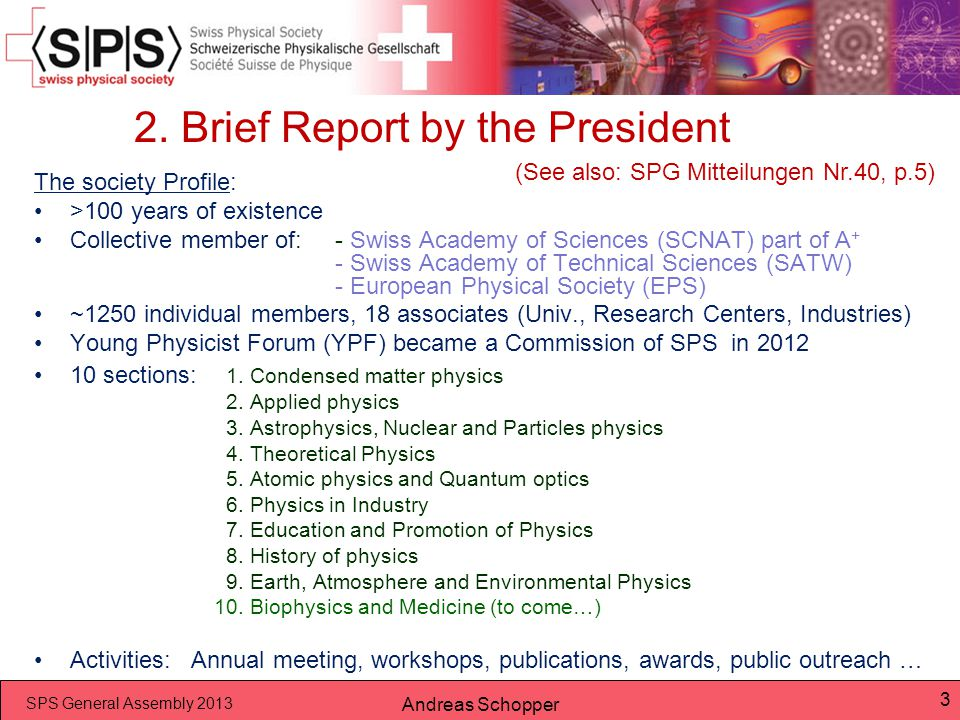 2. Brief Report by the President