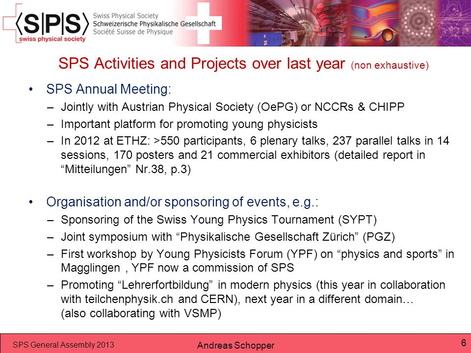 SPS Activities and Projects over last year (non exhaustive)