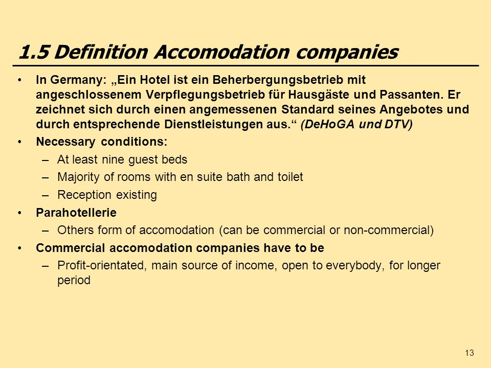 1.5 Definition Accomodation companies