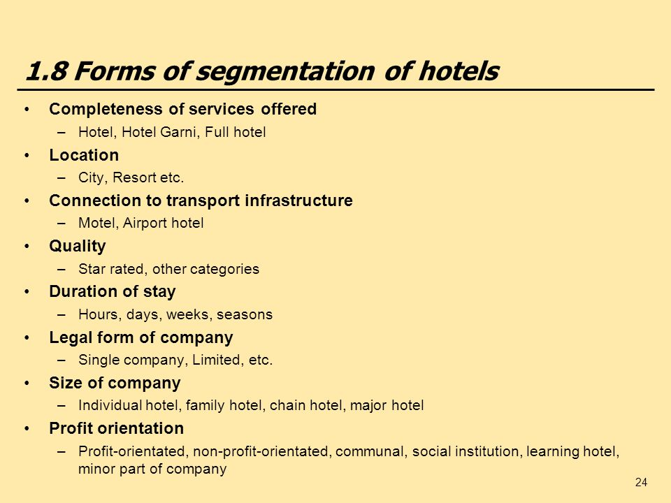 1.8 Forms of segmentation of hotels