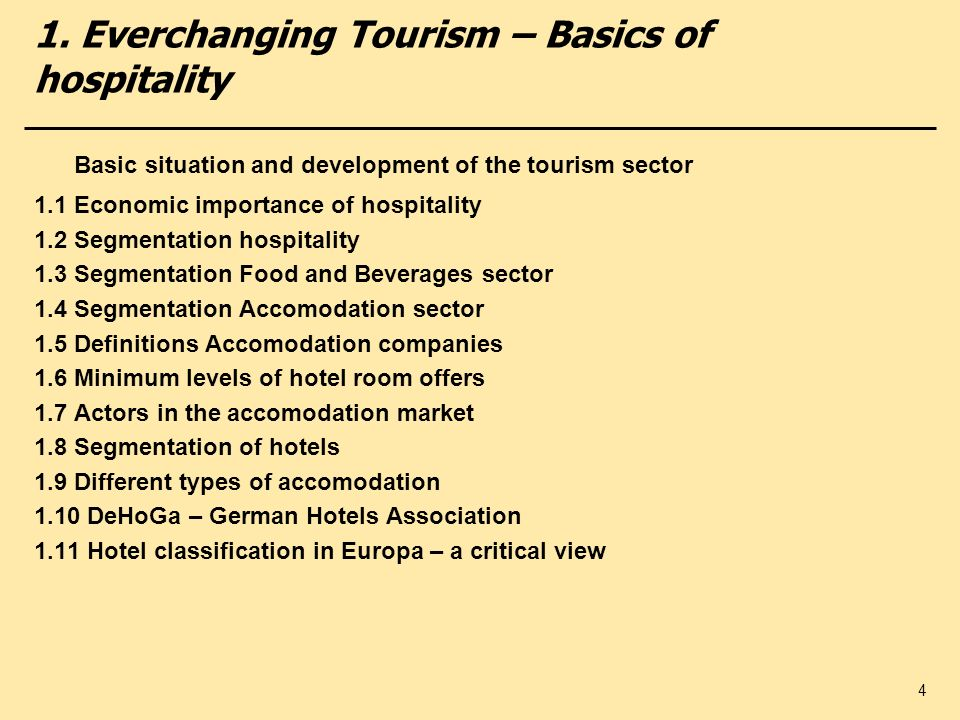 1. Everchanging Tourism – Basics of hospitality