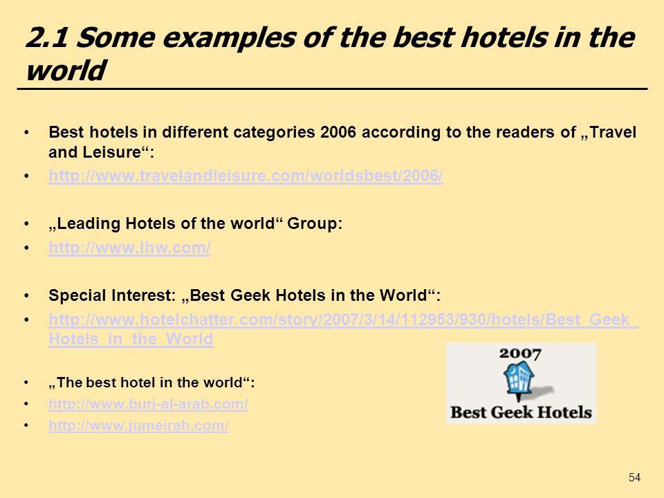 2.1 Some examples of the best hotels in the world