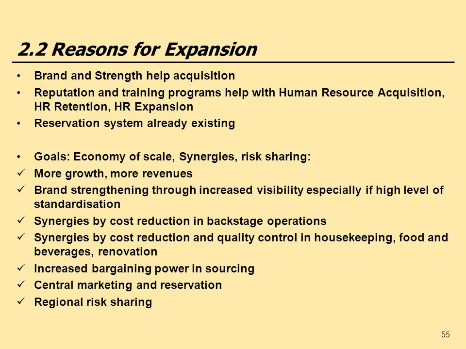2.2 Reasons for Expansion Brand and Strength help acquisition