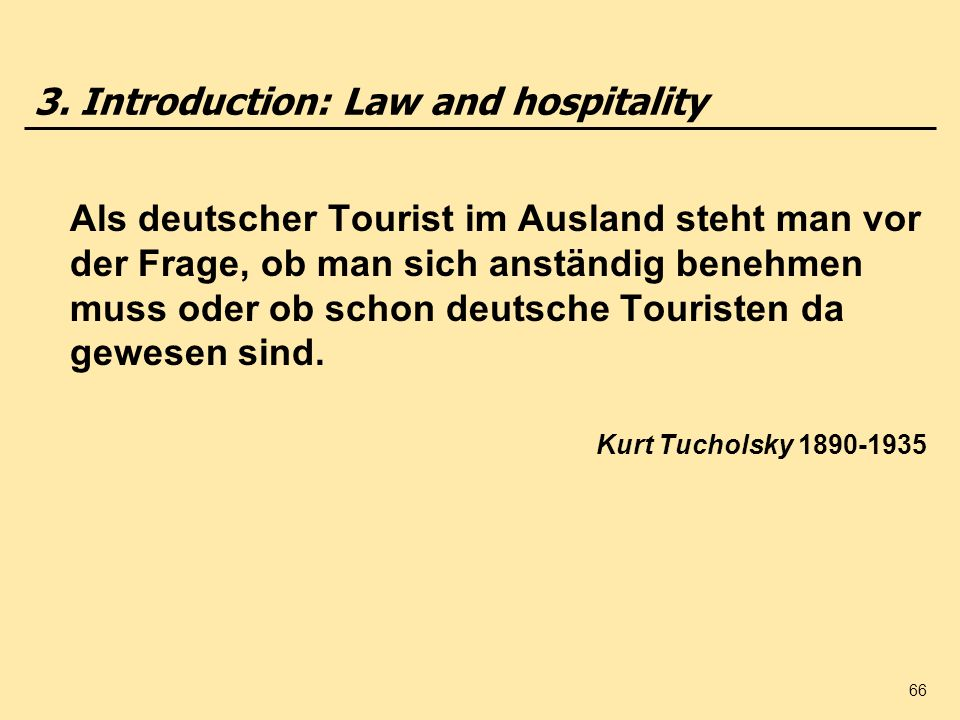 3. Introduction: Law and hospitality