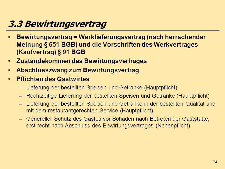 3.3 Bewirtungsvertrag
