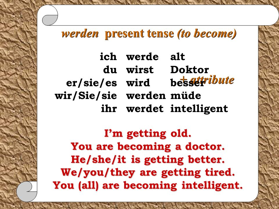 werden present tense (to become)
