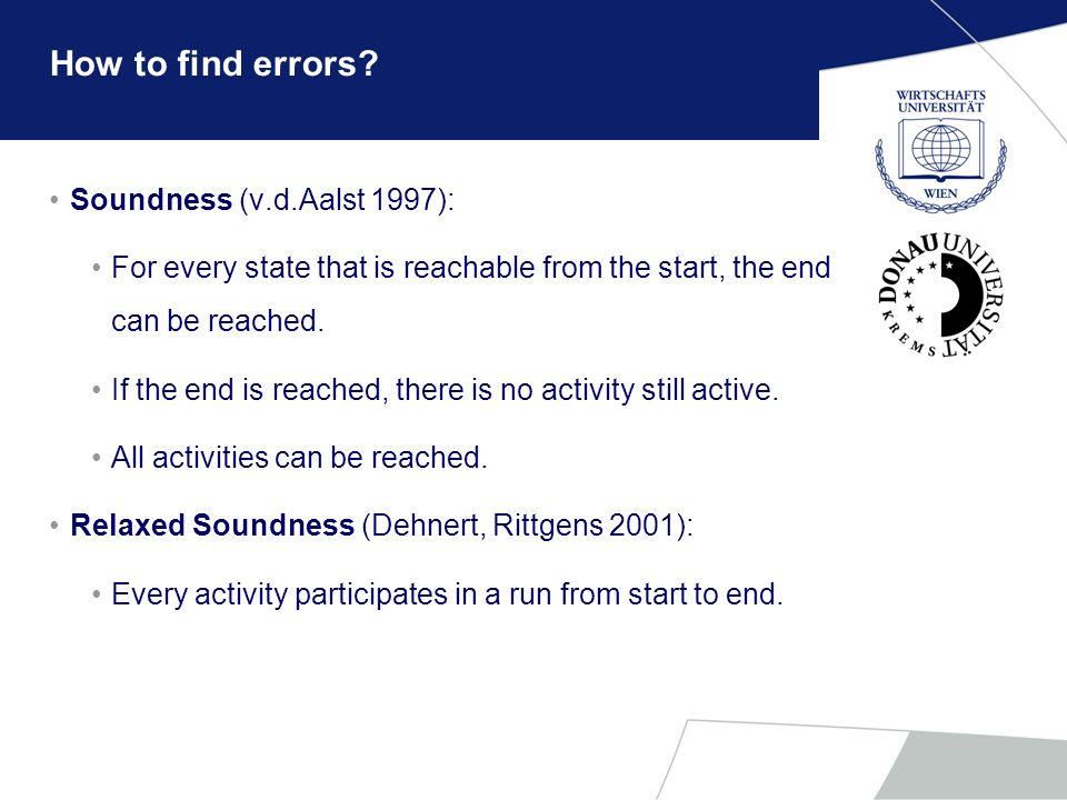How to find errors Soundness (v.d.Aalst 1997):